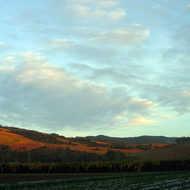 A Fall sunset at Kenwood at the northern end of Sonoma Valley.