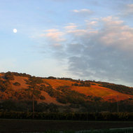 A Fall moonrise and sunset at Kenwood at the northern end of Sonoma Valley.