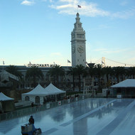 The seasonal ice rink at Justin Hermann Plaza in San Francisco next to the Ferry Building.