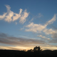 Clouds over the Sonoma Valley as the sun sets.
