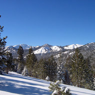 A view up the Euer Valley at the Tahoe-Donner Cross-Country ski area north of Lake Tahoe.