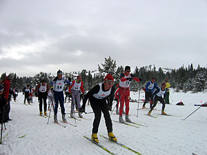 Thumbnail image ofThe start of a cross-country ski race at the Tahoe-Donner...