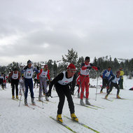 The start of a cross-country ski race at the Tahoe-Donner Cross-Country ski area north of Lake Tahoe.