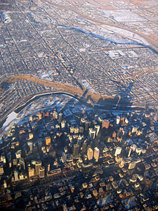 Thumbnail image ofCalgary, Alberta from above in February.