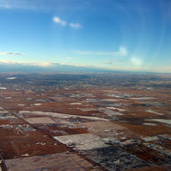 Approaching Calgary, Alberta from the air.