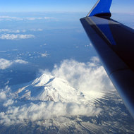An aerial view of Mount Shasta, February 2006.