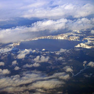 An aerial view of Crater Lake, February 2006.