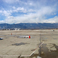 A view of Pikes Peak from the Colorado Springs airport.