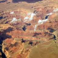 Marble Gorge of the Grand Canyon, showing Tatahatso and Small Points, Buck Farm and Saddle Canyons, and President Harding Rapid.