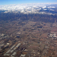 Snowy mountains hemming in the LA basin, February 2006.
