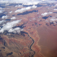 Marble Gorge of the Grand Canyon, showing Nankoweap delta in the lower portion of the photograph.