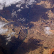 The central part of the Grand Canyon, with Hermit Rapid in sight.