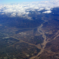 Flying into the LA Basin, February 2006, with I-5 and Grapevine Canyon in sight.