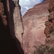 A view from the Buckfarm side canyon, the Colorado River is at the base of the cliff in the distance.