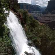 Thunder River Falls, which burst from a cave in a cliff midway down into the Grand Canyon on the North Rim.