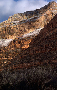 Thumbnail image of A view of snow-dusted Canyon cliffs in winter.