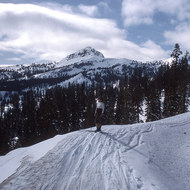 A skier at Mount Lassen National Park.