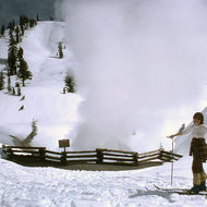 A skier at a hotspring in Mount Lassen National Park.