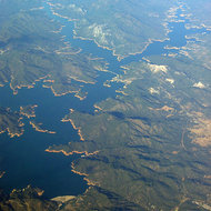 A view Shasta Lake from a commercial airline.