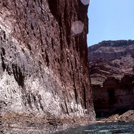 Floating along a cliff in the Grand Canyon.