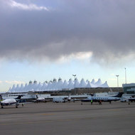 The distinctive Denver International Airport from the tarmac.