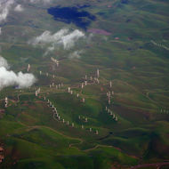 An aerial view of windmills in the California Central Valley.