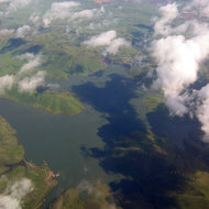 An aerial view of Los Vaqueros Reservoir, California, from a commercial jet.