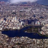 Downtown Oakland, with Lake Merritt.