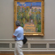 A man walking past Monet's