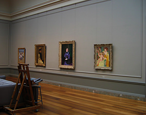 Thumbnail image ofA view of the gallery where such paintings as...
