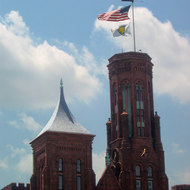 A close-up of the towers of the Smithsonian