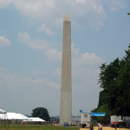 The Washington Monument, with the Lincoln Memorial in the distance.