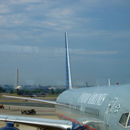 A view of Jefferson Memorial and Washington Monument from Ronald Reagan Washington National Airport.