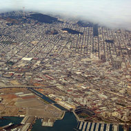 An aerial view of San Francisco, including Pacific Bell Park.