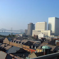 Looking from the rooftop of the Omni Royal Orleans hotel toward the bridge across the Mississippi River, post-Katrina.