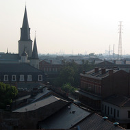 Looking from the rooftop of the Omni Royal Orleans hotel toward the St. Louis Cathedral and Jackson Square, post-Katrina.