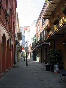 Thumbnail image ofA French Quarter alley, looking toward the downtown...