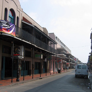 A view of the famous Bourbon Street in the French Quarter of New Orleans.