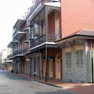 A typical street scene in the French Quarter of New Orleans, post-Katrina.