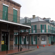 The corner of Bourbon Street and St. Peter in the French Quarter of New Orleans, post-Katrina.