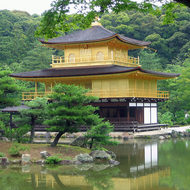 A close-up of Kinkaku-ji, also known as the Golden Temple, one of the most famous sites in Japan.