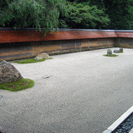 The famous Ryoan-ji, the Temple of the Peaceful Dragon, perhaps the most famous of the Japanese dry gardens.