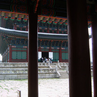 A view of the Geunjeongjeon (main palace) inside the Gyeongbokgung Palace grounds.