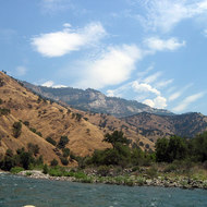 An upstream view while rafting on the Kings River.