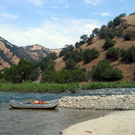 Moored in an eddy at Mill Creek on the Kings River.