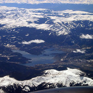 A view of Dillon Reservoir in the Rocky Mountains outside of Denver, from a commercial jet.