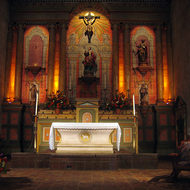 An interior view of the chapel at the Santa Barbara Mission.