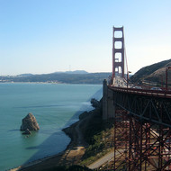 A view of the Golden Gate Bridge from Marin County, looking back to San Francisco.
