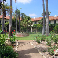 The interior courtyard of the Santa Barbara Mission.