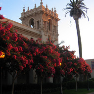 A view of the House of Hospitality in Balboa Park at sunset.